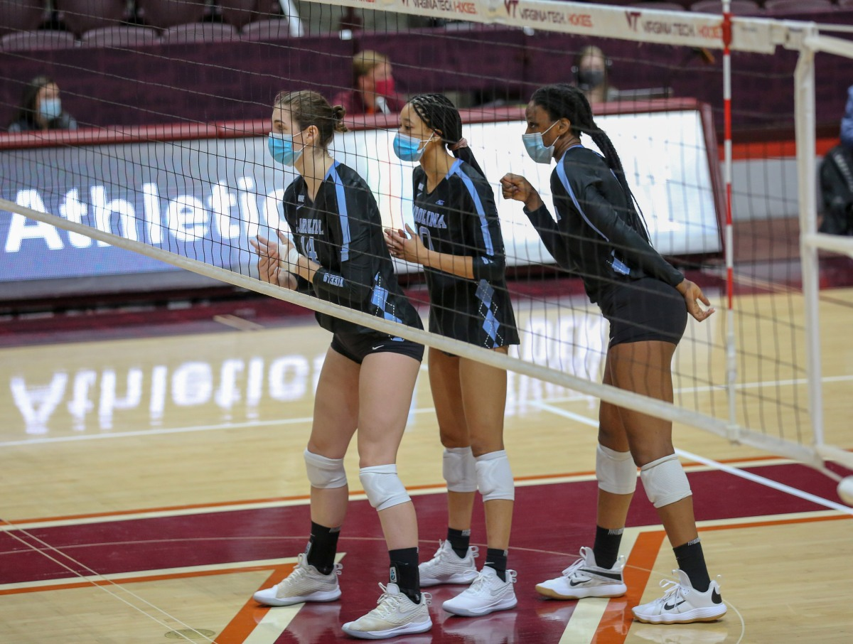 UNC is one of a few college volleyball teams with every player wearing masks for matches